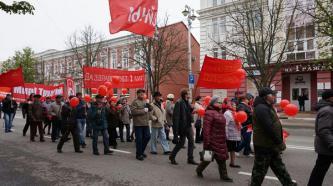 На первомайской демонстрации в Белгороде российских коммунистов поддержал член Компартии Франции